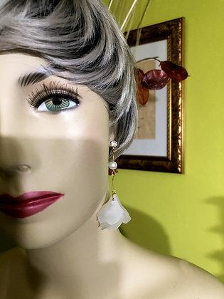 Lovely Resin Flower Long Pearl Drop Earrings