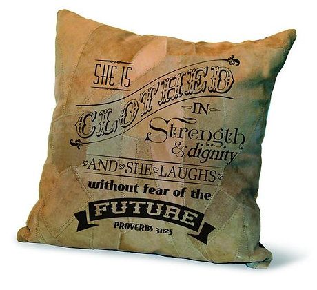 """CLOTHED IN STRENGTH"" RECYCLED LEATHER PILLOW"