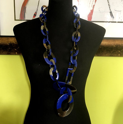 100% Buffalo Horn Blue Lacquer Necklace