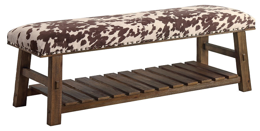 Mesquite Faux Cowhide Bench   54x18x18
