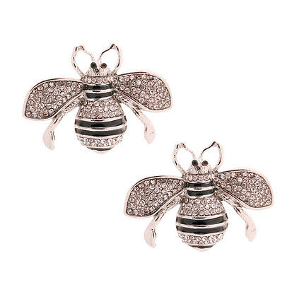 Silver Gucci Style Bee Studs