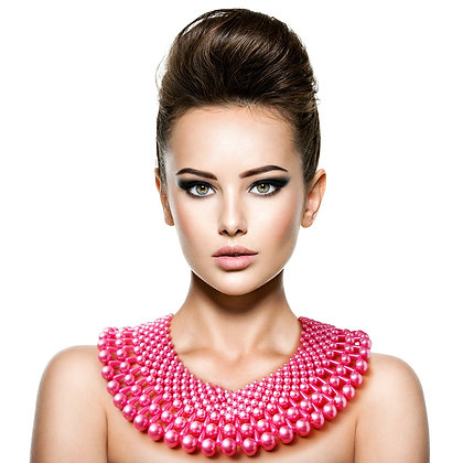 Pink Pearl Collar Necklace Set