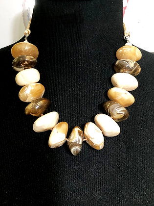 Oval Resin Beige Marble-like Stones w/ Earrings