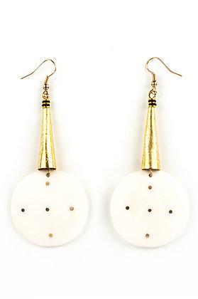 Circular White Bone Iota Earrings