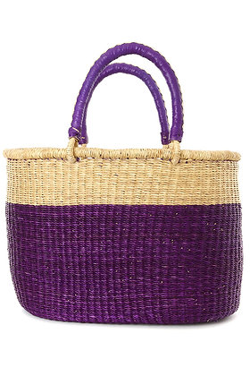 Aubergine Color  Shopper with Leather Handles