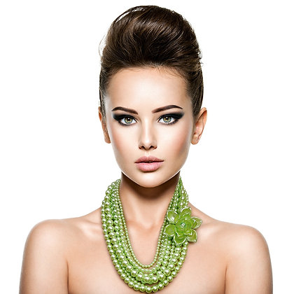 Lime-Green Flower and Pearl Necklace Set