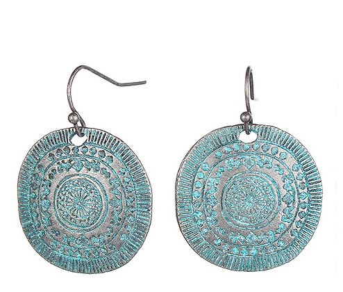 Retro Blue Copper Coin Round Earring