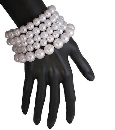 White Pearl Stretch Bracelet Set
