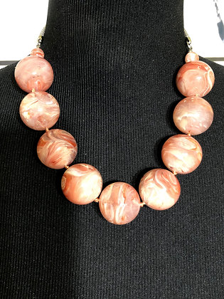 Beautiful Peach Marble-like Necklace