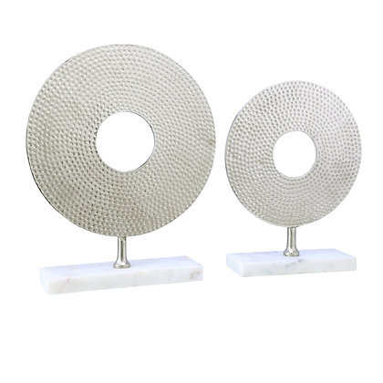 White Circular  Harris White 2pc Sculptures
