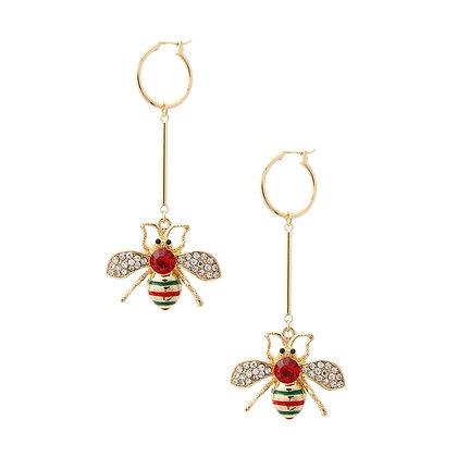 Bumble Bee Red Rhinestone Drop Earrings