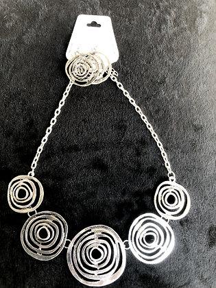Spiral/Circles Silvertone  Necklace Set