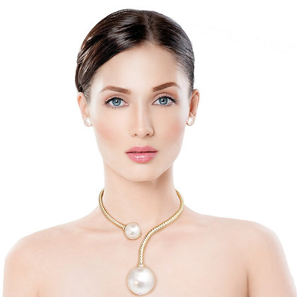 Gold Twisted Choker Pearl Necklace