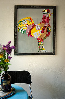 Recycled Can Rooster Framed Art