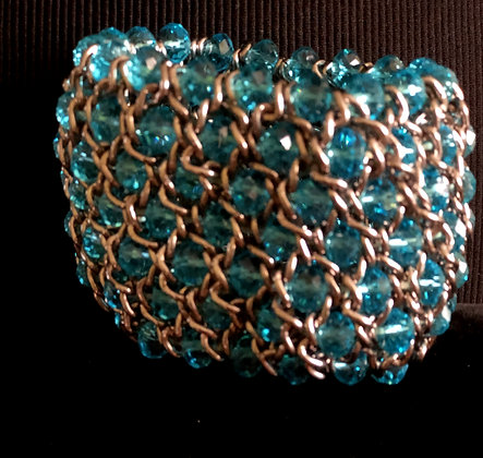 Sparkling Silver Chain and Vibrant Turquoise Beads Wide Bracelet