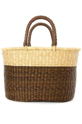 Nutmeg Color Shopper with Leather Handles