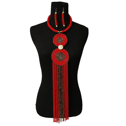 Red Bead Fringe Necklace Set
