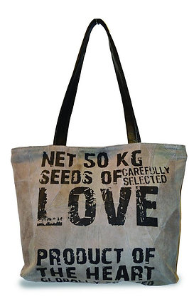 """""""LOVE SEEDS""""  RECYCLED LEATHER TOTE"""