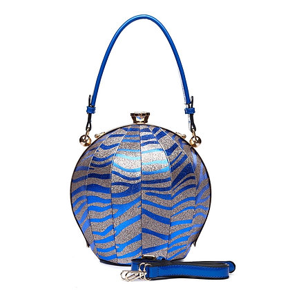 Blue Zebra Vegan- Leather Ball Bag