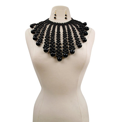 Black Pearl Necklace Set  with Graduated Pearl Drop Fringe