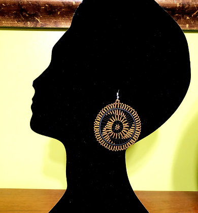 Disc Beaded Earrings-Black/Gold Design