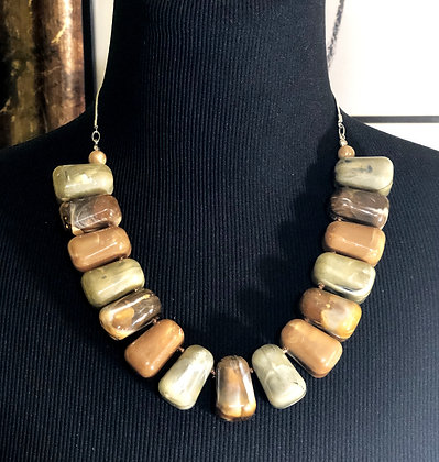 Square Marble-Like Resin Necklace w/Earrings