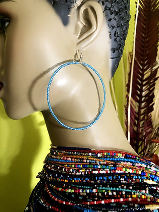 Shimmering Blue Beaded Earring Hoops