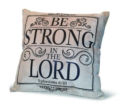 """""""BE STRONG IN THE LORD"""" RECYCLED LEATHER PILLOW"""