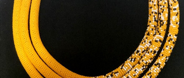 Yellow Speckled Glass Beaded Choker/Necklace
