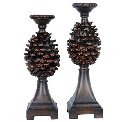 """17""""/18.5"""" Ht. Resin Pine Cone Candleholders"""