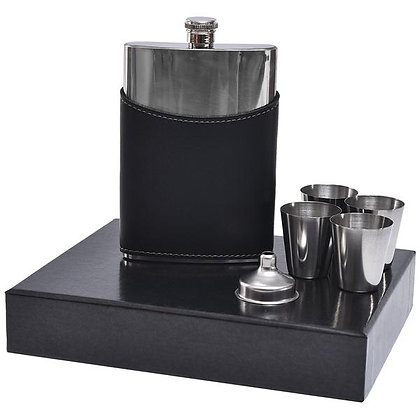 ELITE LEATHER  AND  STAINLESS STEEL FLASK SET