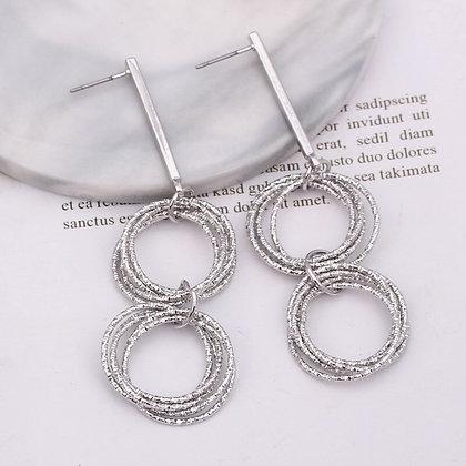 Silver-tone Multi-layer Circle Geometric Earrings