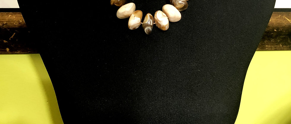 Marble Stone Faux Beige Necklace