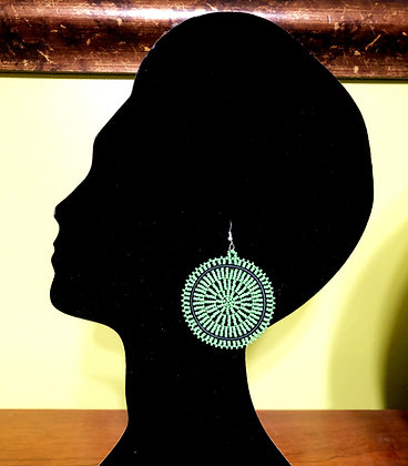 Disc Beaded Earrings-Green Design
