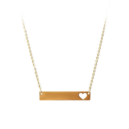 Stainless Steel 18K Gold Plate Little Heart Charm Necklace