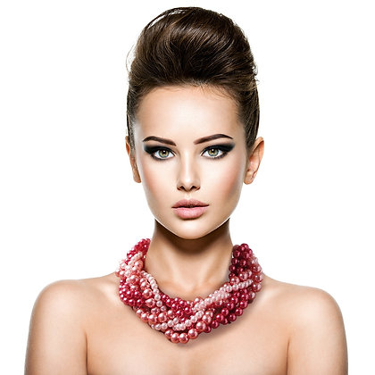 Beautifully Designed Various Pinks Twisted Pearl Necklace Set