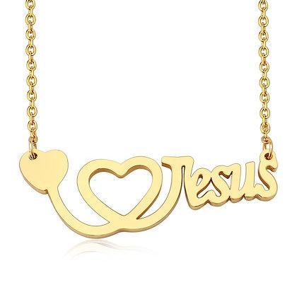 Love Jesus:  Stainless Steel 18k GP Necklace