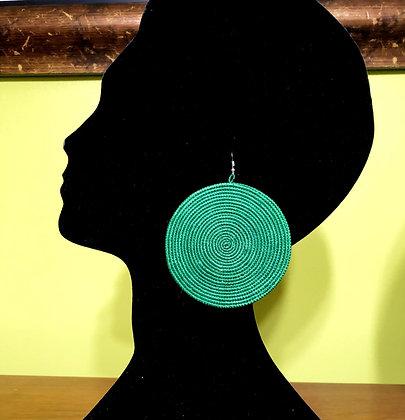 Woven Sisal Straw Disc Earrings-Green_Large