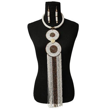 White Bead Fringe Necklace Set