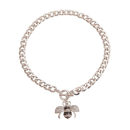 Silver Bee Charm Toggle Necklace