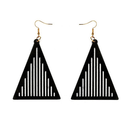 Wooden Pyramid Shape Earrings