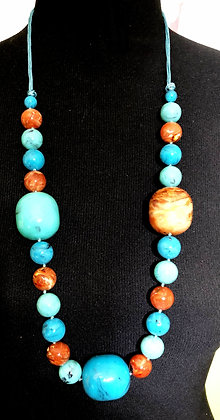 Resin Stone Chunky Necklace w/ Earrings
