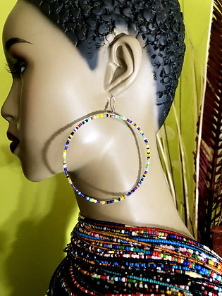 Peacock Beaded Earring Hoops