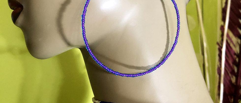 Purple Beaded Earring Hoops
