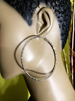 Large  Round Silver Hoop Earrings