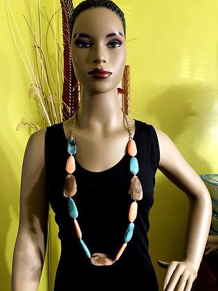 Pear-Shaped Marble-Like Resin Necklace w/ Earrings