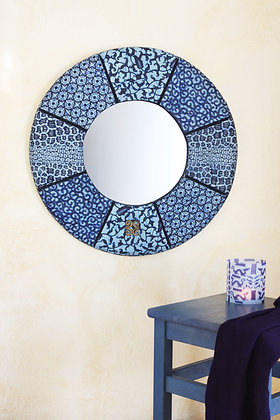 "24"" Round Waxed Cloth Mirror"