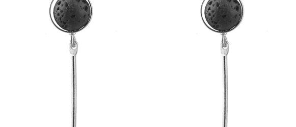 Lava Stone Earrings Silver-tone