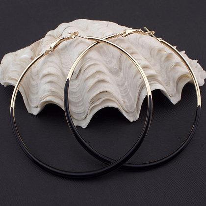 Neon Glaze Black/Gold Hoop Earrings