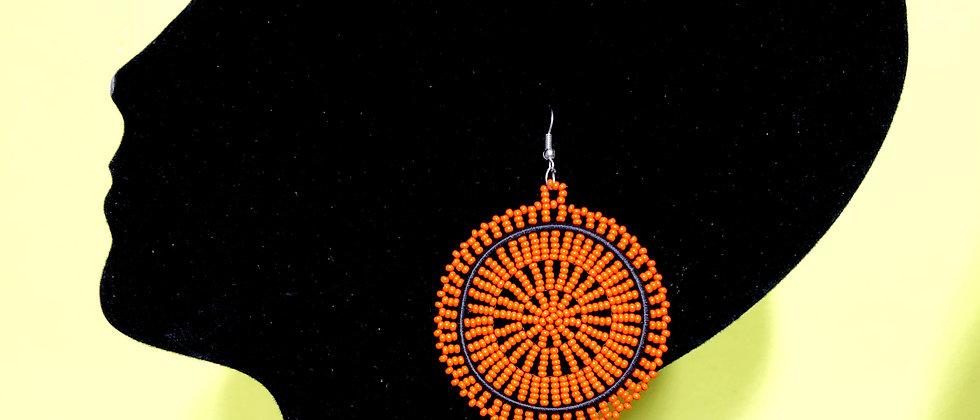 Disc Beaded Earrings-Orange Design